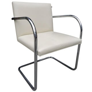 Mid-Century Knoll Brno Chairs by Mies Van Der Rohe in White For Sale