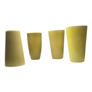 1950s Vintage Lietzke Mid-Century Modern Chartreuse Porcelain Tumblers - Set of 4