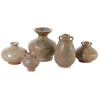 19th Century Collection of Small Celedon Thai Pots For Sale
