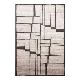Windowpane 5' x 8' Rug - Gray/Ivory For Sale