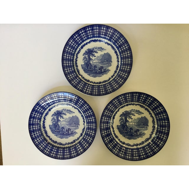 Antique Blue Rimmed Bowls in Breadalbane Pattern - Made in Cauldon, England - Set of Three For Sale - Image 12 of 12