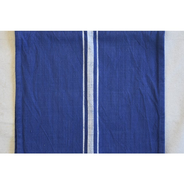 "Early 21st Century Farmhouse Royal Blue & White Striped Table Runner 110"" Long For Sale - Image 5 of 8"
