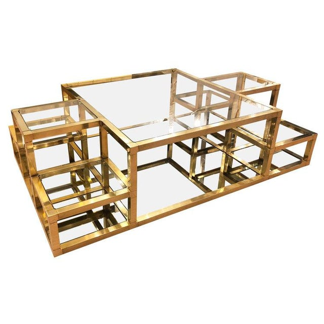 Contemporary 1960s Italian Multi-Level Brass Coffee Table For Sale - Image 3 of 10