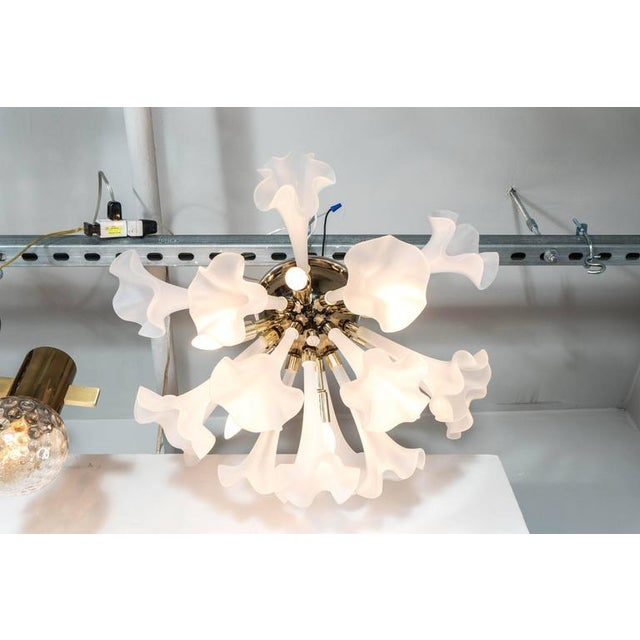 Handblown Flush Mount Murano Chandelier in Brass with Frosted Glass Flowers - Image 4 of 9