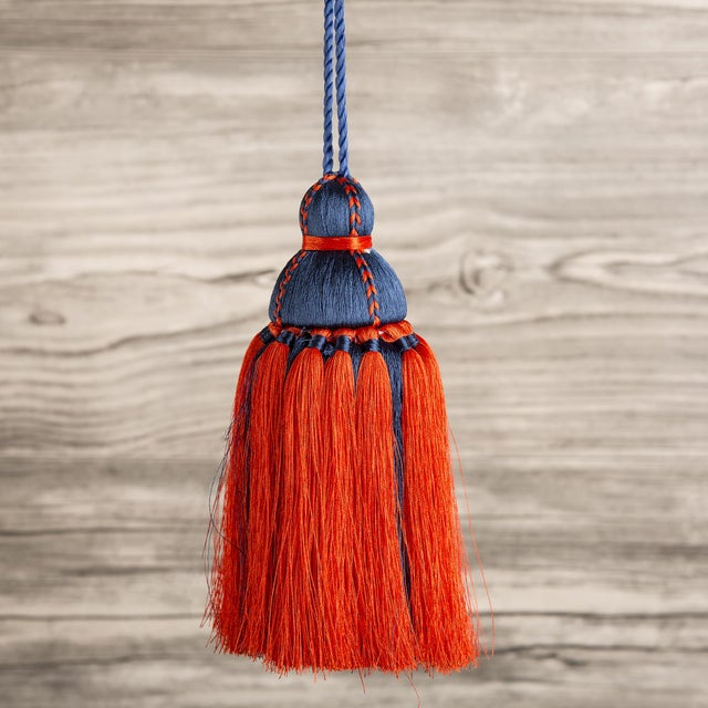Navy & Orange Tassel, Medium For Sale - Image 4 of 4