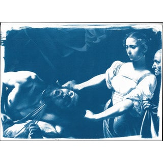 Limited Serie Cyanotype Print, Caravaggio Painting Judith Beheading Holofernes For Sale