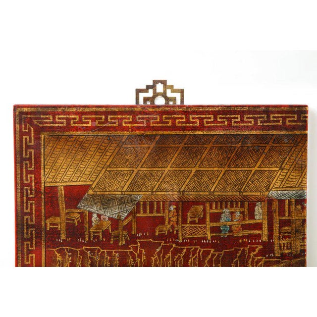 Chinoiserie Red Lacquered Panels - Set of 6 For Sale - Image 11 of 12