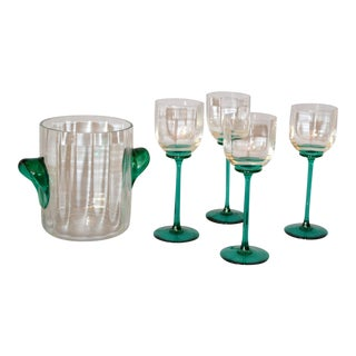 Vintage Icet Arte Murano Clear & Green Wine Glasses With Wine Cooler - Set of 5 For Sale
