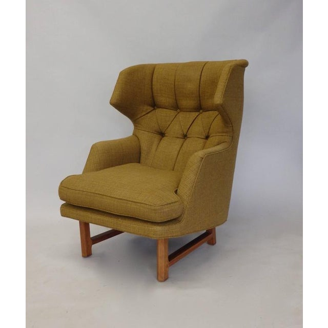 Americana Original Edward Wormley for Dunbar Modernist Wingback Lounge Chair For Sale - Image 3 of 7