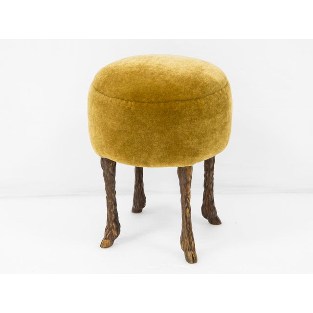 "Marc Bankowsky Pair of stools ""Goat feet"" Patinated bronze, velvet mohair ""mustard"" color H 53 x D 40 cm France, 2018"