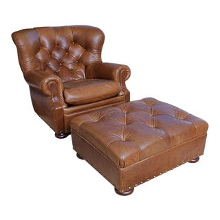 Modern Ralph Lauren Leather Tufted Writer's Club Chair & Ottoman For Sale