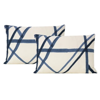 """12"""" X 18"""" Channels Periwinkle Lumbar Pillows - a Pair For Sale"""