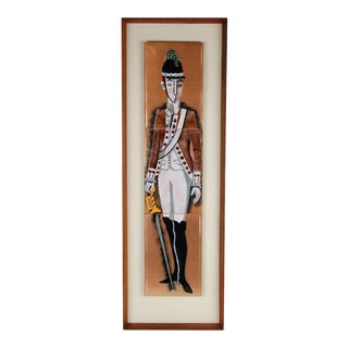 Mid-Century Modern Enameled Copper Wall Plaque Soldier Palace Guard