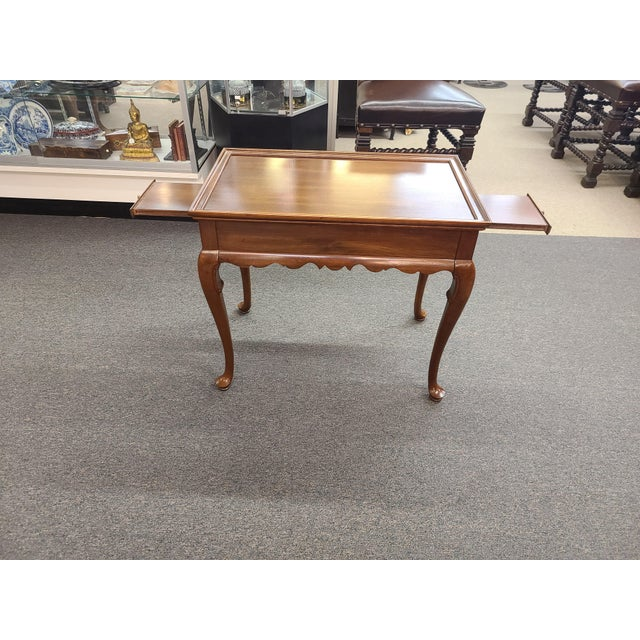 Mid 20th Century Vintage Ethan Allen Georgian Court Mahogany Tea Table For Sale - Image 5 of 11