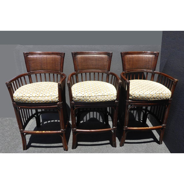 Vintage David Francis Tradewinds Tiki Palm Beach Rattan Bar Stools - Set of 3 For Sale - Image 12 of 12