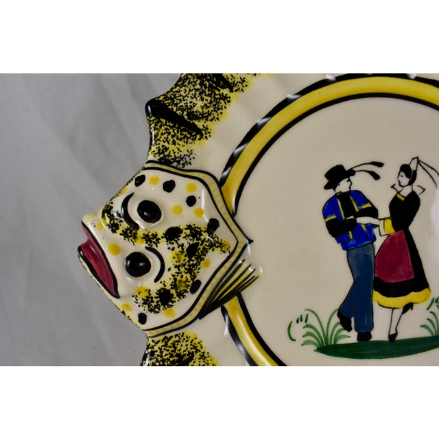 1940s 1940s French Faïence Henriot Quimper Fish & Breton Dancer Plate, Multiples Available For Sale - Image 5 of 12