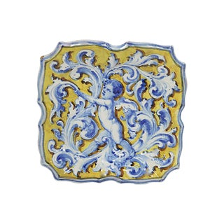 Antique French Faience Plate W/ Cherub
