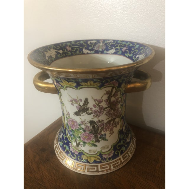 Ceramic 1990's Chinese Cherry Blossom Enameled Cachepot For Sale - Image 7 of 7