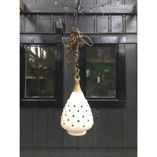 1960s Mid Century White Ceramic Swag Lamp With Brass Detail Preview