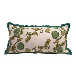 Turquoise & Green Crewel Down Filled Pillow For Sale