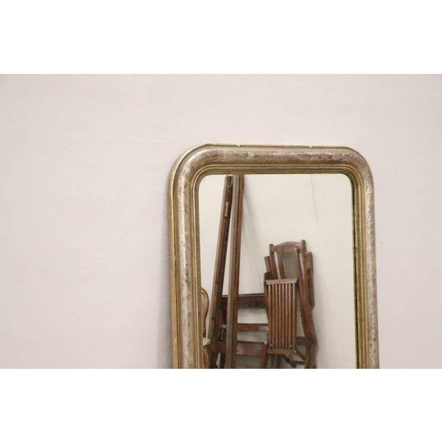19th Century Italian Golden and Silver Wood Antique Wall Mirror For Sale - Image 6 of 13