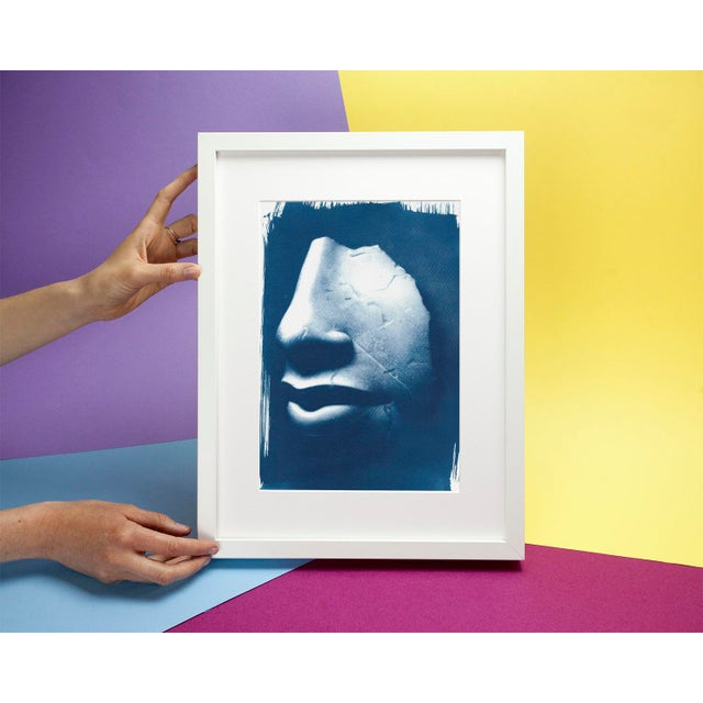 Limited Edition, Ancient Egyptian Nose and Mouth Sculpture, Cyanotype Print on Watercolor Paper For Sale - Image 4 of 4
