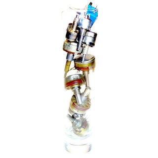 TV Electronic Potentiometer Sculpture. Circa Mid-Century. In Glass Vase For Sale