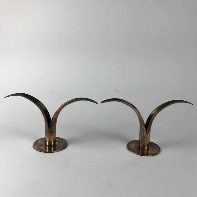 """Mid-Century Swedish Brass """"Lily"""" Candlesticks - A Pair For Sale - Image 9 of 9"""