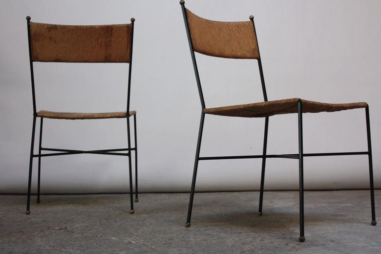 Set of Four Iron and Rush Chairs by Milo Baughman for Murray Furniture For Sale -  sc 1 st  Decaso & Superb Set of Four Iron and Rush Chairs by Milo Baughman for Murray ...