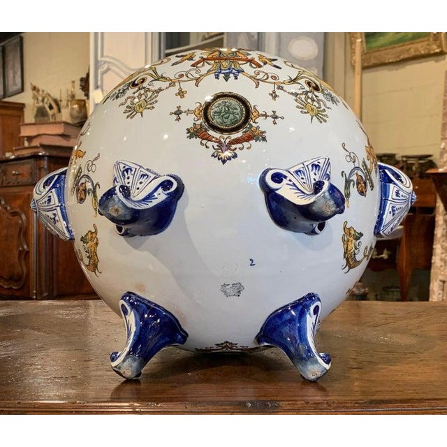 19th Century French Louis XV Hand Painted Porcelain Cache Pot Signed Gien For Sale - Image 10 of 11
