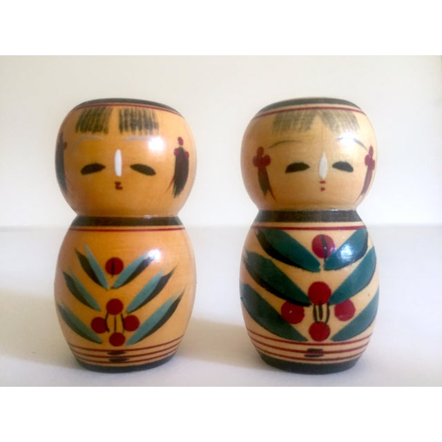 Vintage Mid Century Japan Rare Kokeshi Hand Painted Wood Hors d'Oeuvre Picks / Cocktail Skewers - 11pc Set For Sale In Kansas City - Image 6 of 13
