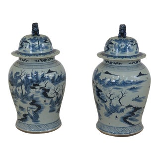 1990s Vintage Chinese Ceramic Garden Urns - A Pair For Sale
