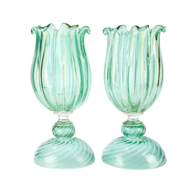 Large Archimede Seguso Signed Murano Votives - a Pair For Sale