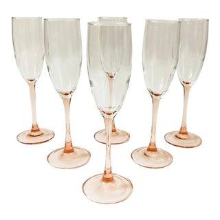 Vintage Pink Stem Champagne Glasses - Set of 6 For Sale