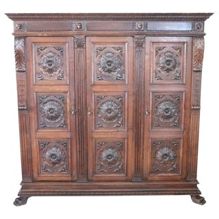 19th Century Italian Renaissance Style Carved Oak Bookcase For Sale