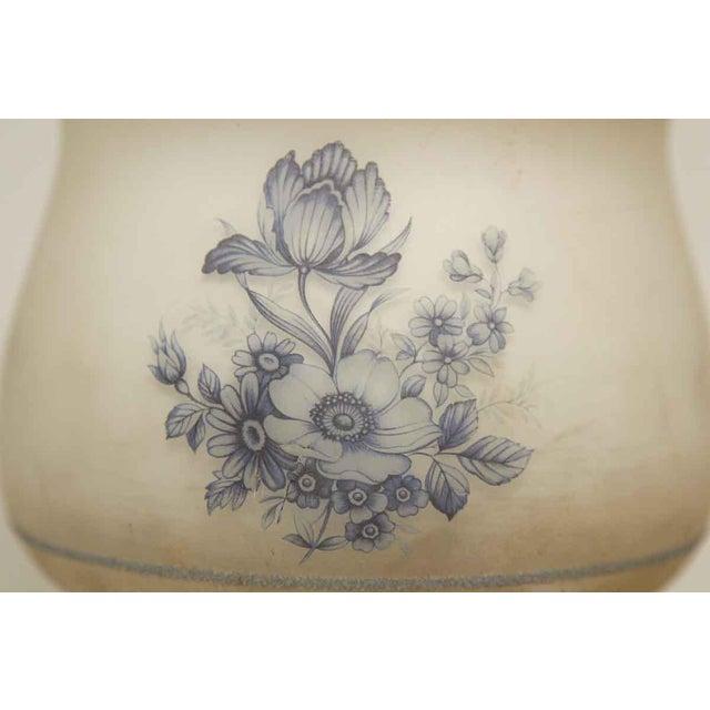 Cottage Blue & White Floral Globe Flush Mount Fixture For Sale - Image 3 of 8