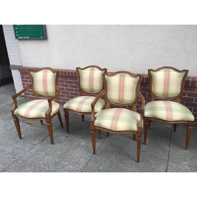 Carved Neoclassic Dining Chairs with Silk Upholstery set of 4 For Sale - Image 9 of 9