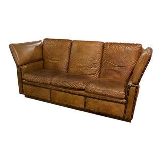 English Knole Leather Sofa For Sale