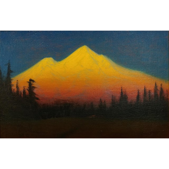 Realism James Everett Stuart- Sunset Glow at Mt Shasta -Beautiful Oil Painting 1921 For Sale - Image 3 of 10