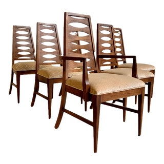 Walnut Mid Century Modern Bowtie Dining Chairs, Set/6 For Sale