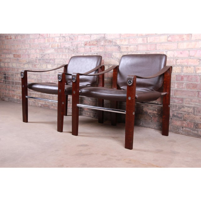 Maurice Burke for Pozza Mahogany and Leather Safari Chairs, Set of Four For Sale - Image 10 of 13