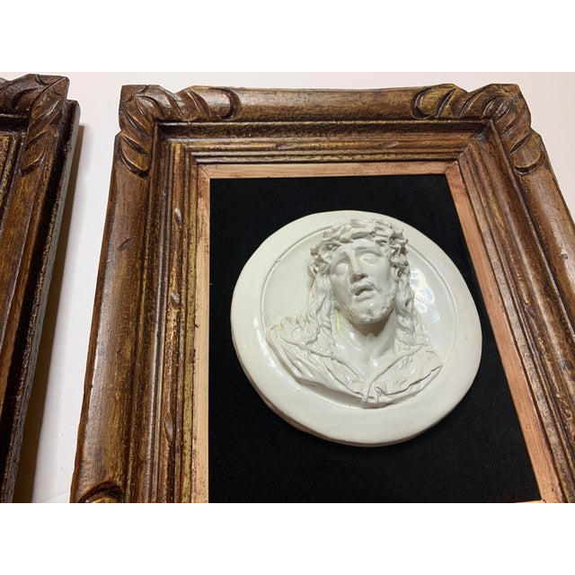 19th Century Glazed Chalkware Wall Mounting High Relief Bust Cameos - a Pair For Sale - Image 11 of 13