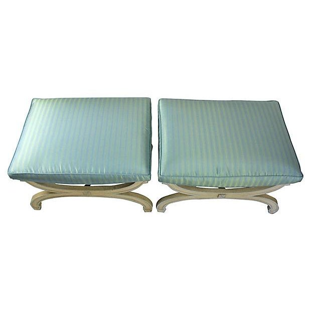 1950s Cerulean X-Stools - Pair - Image 3 of 4