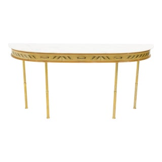 1950s Italian Giuseppe Anzani Brass Goatskin Marble Console Table For Sale