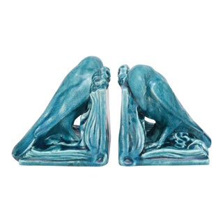 Pair of Rare Rookwood Raven Bookends, 1940s, Usa For Sale