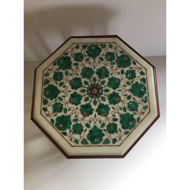 Mid 20th Century Pietra Dura Marble-Topped Octagonal Table Inlaid in Taj Mahal Anglo Raj Style For Sale - Image 5 of 13