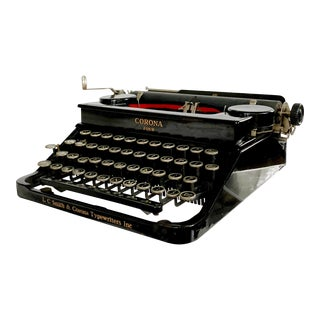Antique Art Deco 1935 L C Smith Corona the Four Improved With Case - Rare and Collectible For Sale