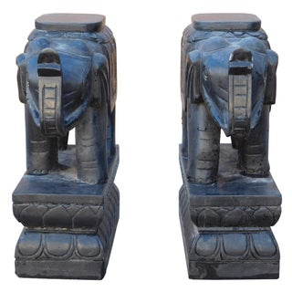 Chinese Black Stone Elephant Figures - A Pair For Sale