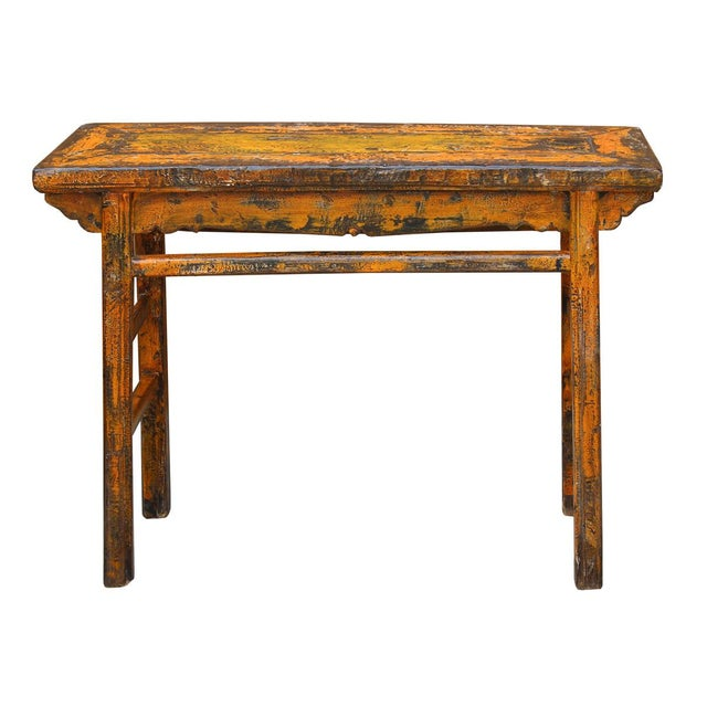 Distressed Orange Chinese Rustic Table - Image 4 of 7