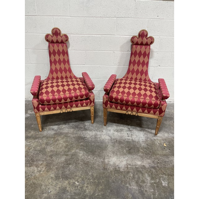 Whimsical Avant Garde Tall Back Chairs- a Pair For Sale - Image 12 of 12